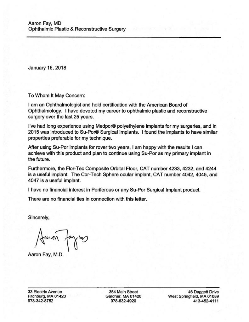 Aaron Fay MD letter