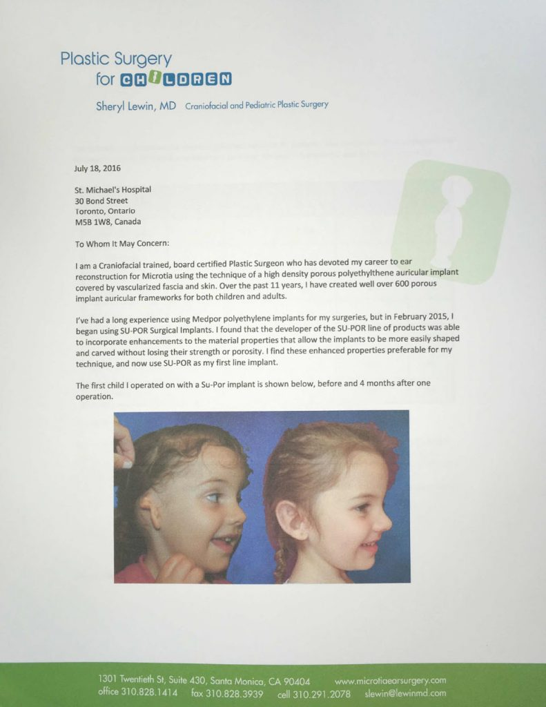 reviews Sheryl Lewin MD letter page 1