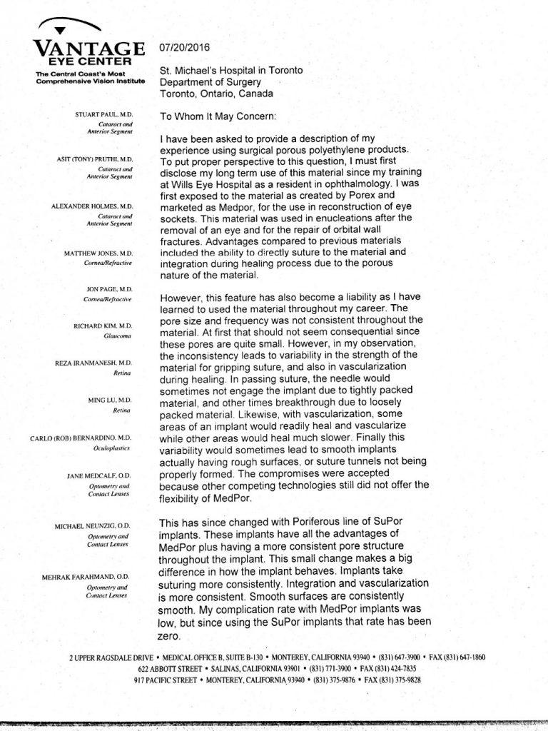 Vantage Eye Center letter page 1