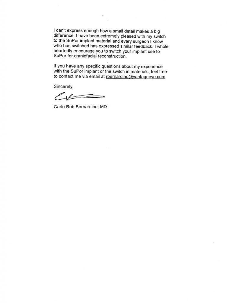 Vantage Eye Center letter page 2