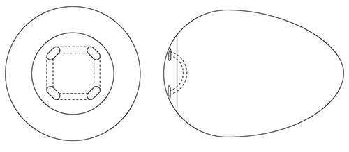 Quadro-Port Tunnel Conical Orbital Implant (COI) diagram