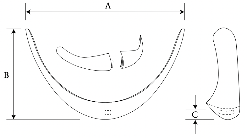 Contoured Two-Piece Chin diagram